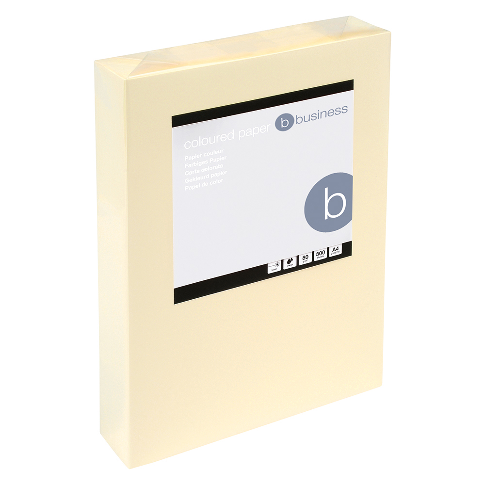 Business Coloured Copier Paper 80gsm A4 Light Cream (Ream of 500 Sheets)