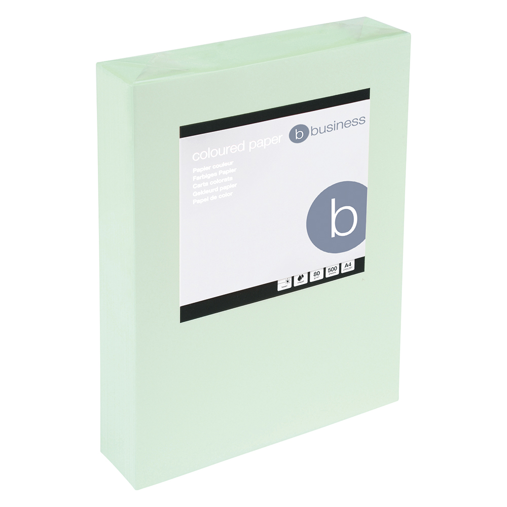 Business Coloured Copier Paper 80gsm A4 Light Green (Ream of 500 Sheets)