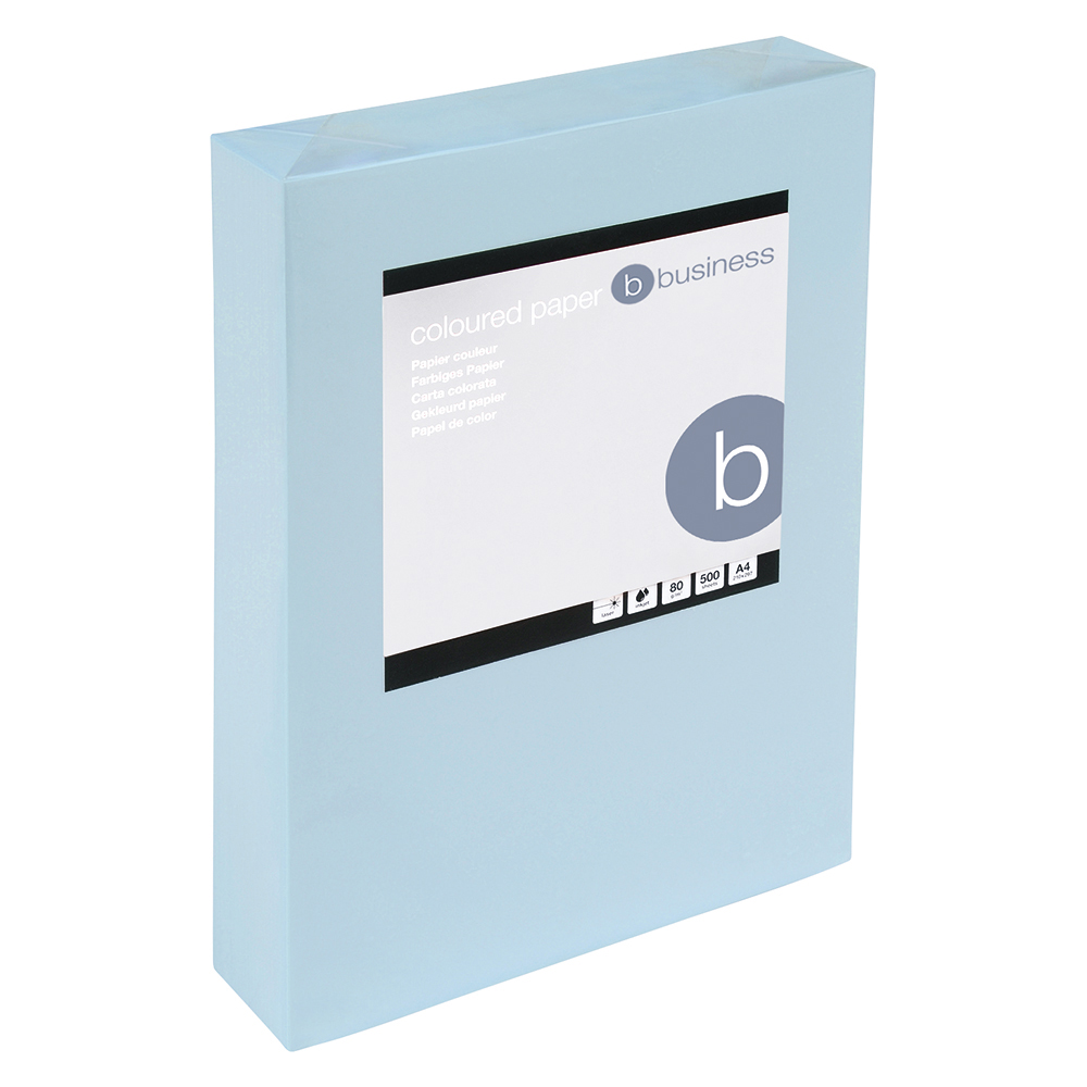 Business Coloured Copier Paper 80gsm A4 Light Blue (Ream of 500 Sheets)