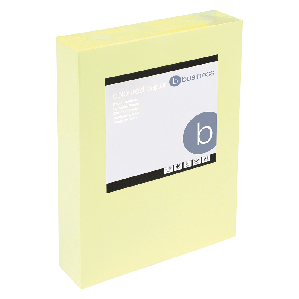 Business Coloured Copier Paper 80gsm A4 Light Yellow (Ream of 500 Sheets)