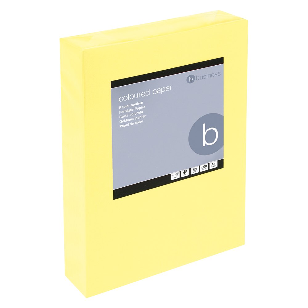 Business Coloured Copier Paper 80gsm A4 Medium Yellow (Ream of 500 Sheets)