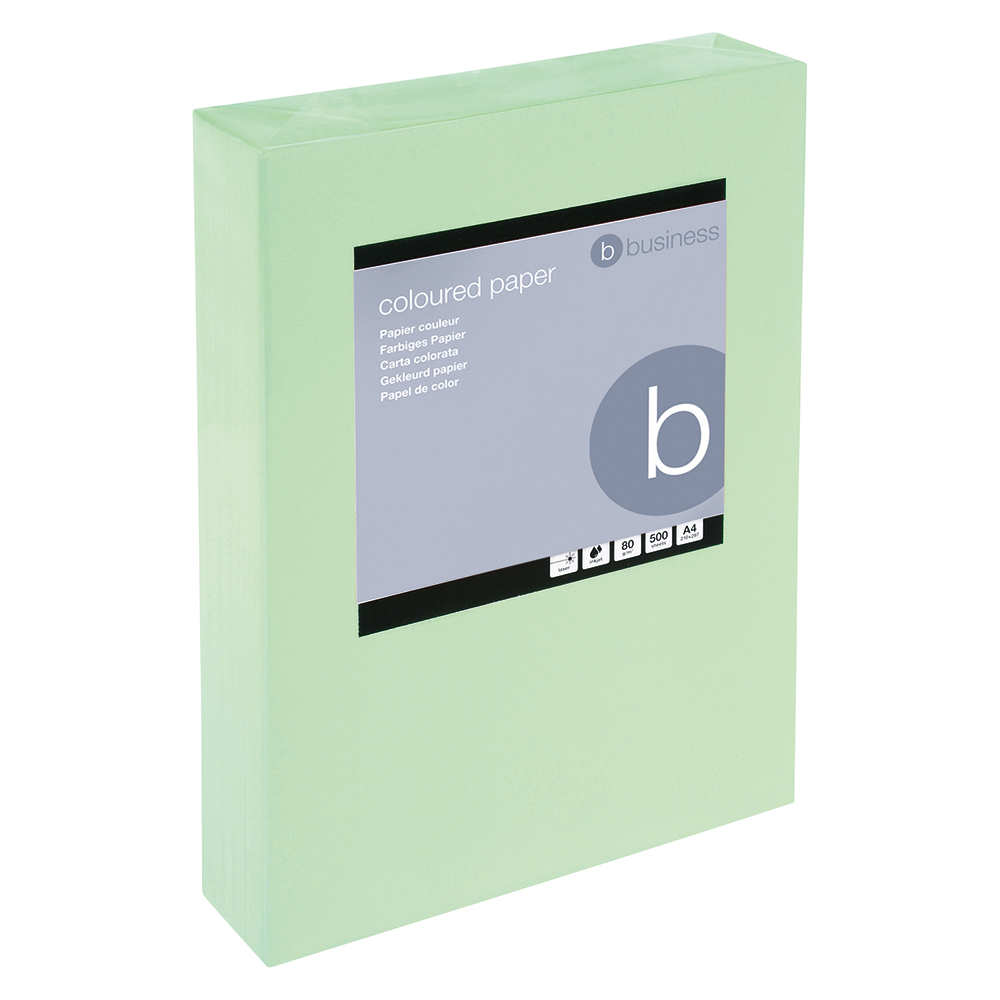 Business Coloured Copier Paper 80gsm A4 Medium Green (Ream of 500 Sheets)