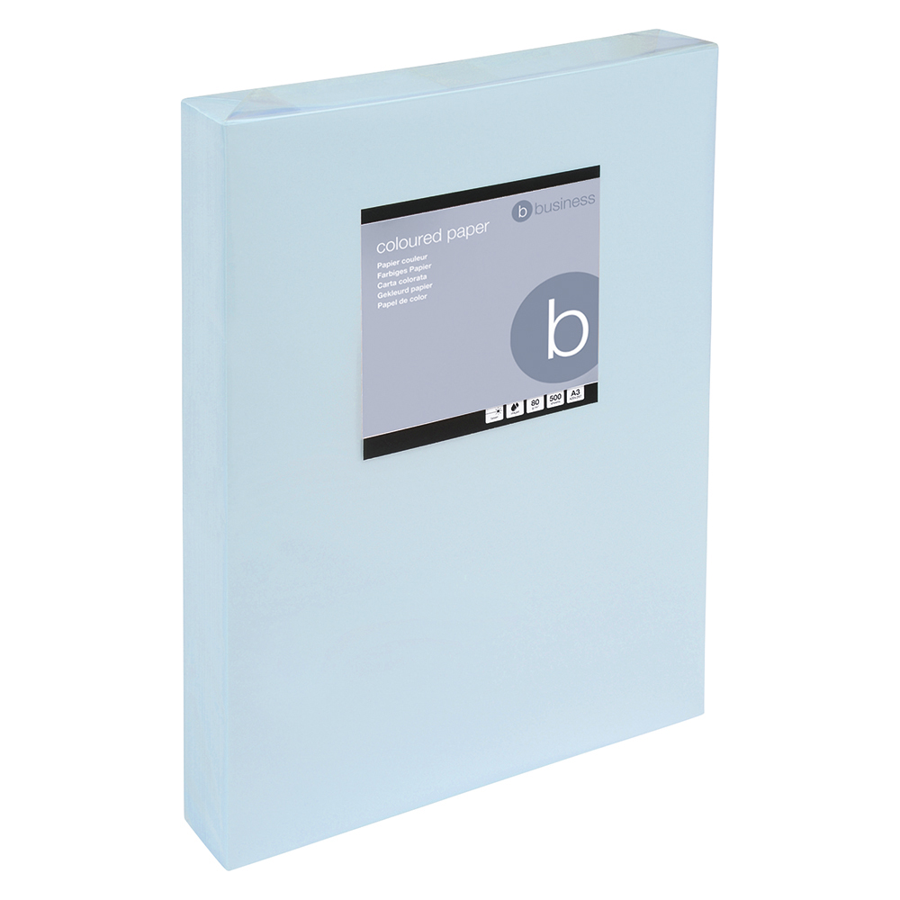 Business Coloured Copier Paper 80gsm A3 Light Blue (Ream of 500 Sheets)