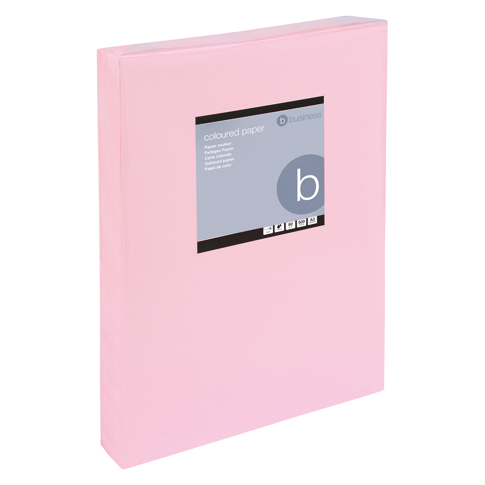 Business Coloured Copier Paper 80gsm A3 Light Pink (Ream of 500 Sheets)
