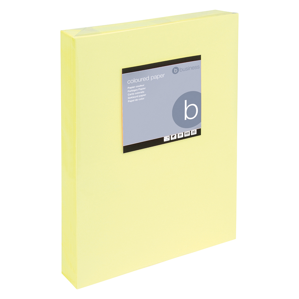 Business Office Coloured Copier Paper Multifunctional Ream-Wrapped 80gsm A3 Light Yellow 500 Sheets