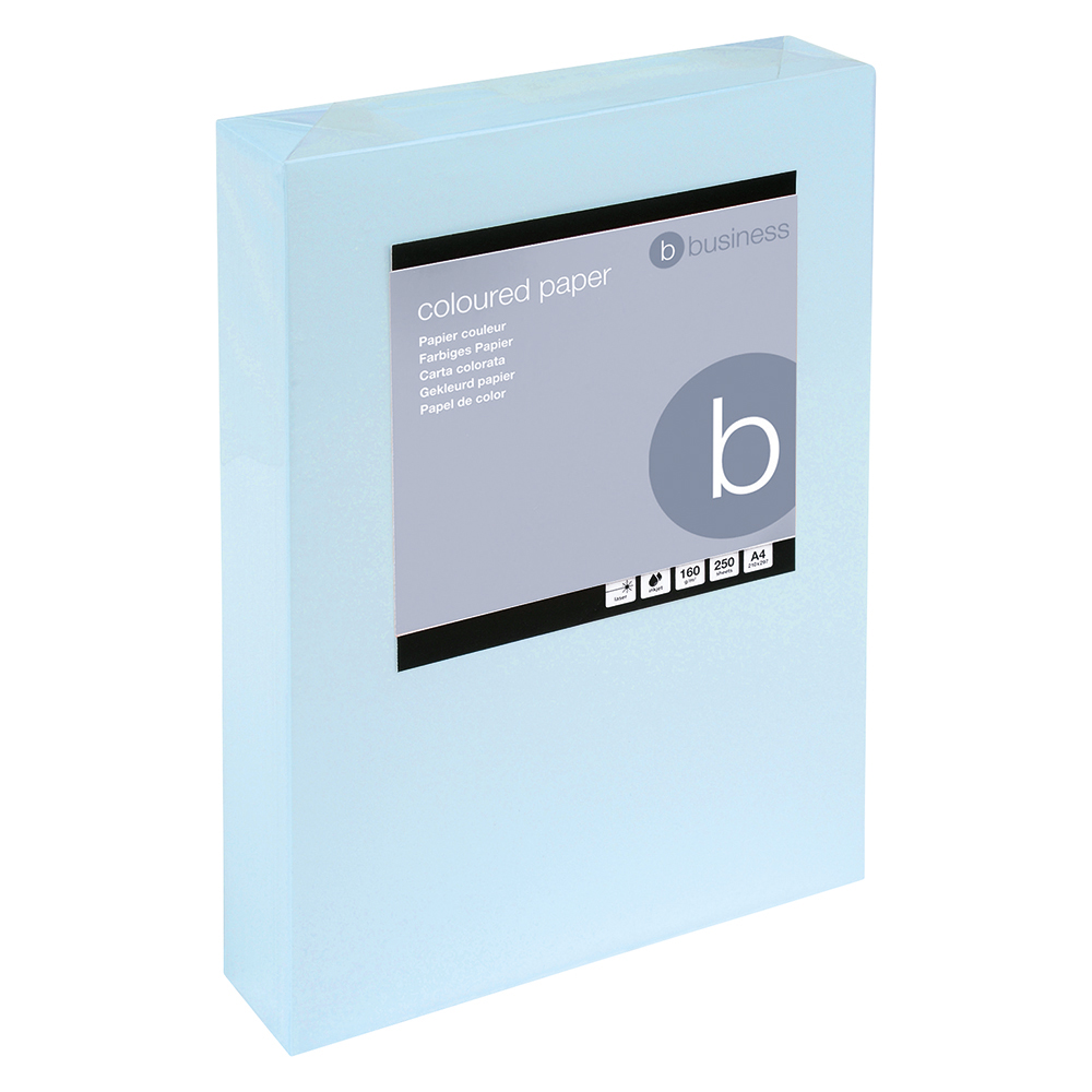 Business Coloured Card 160gsm A4 Light Blue (Ream of 250 Sheets)