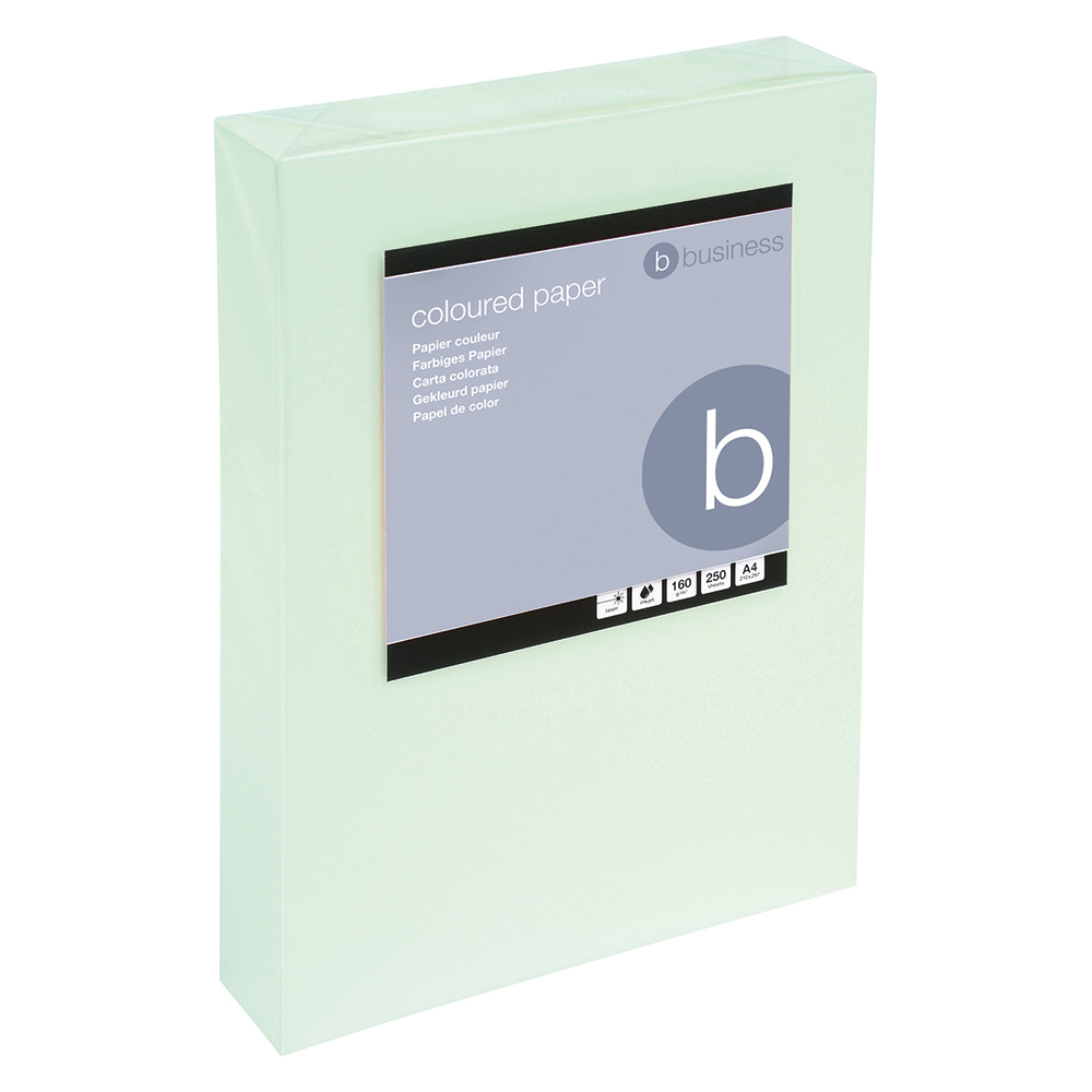 Business Office Coloured Card Multifunctional 160gsm A4 Light Green 250 Sheets