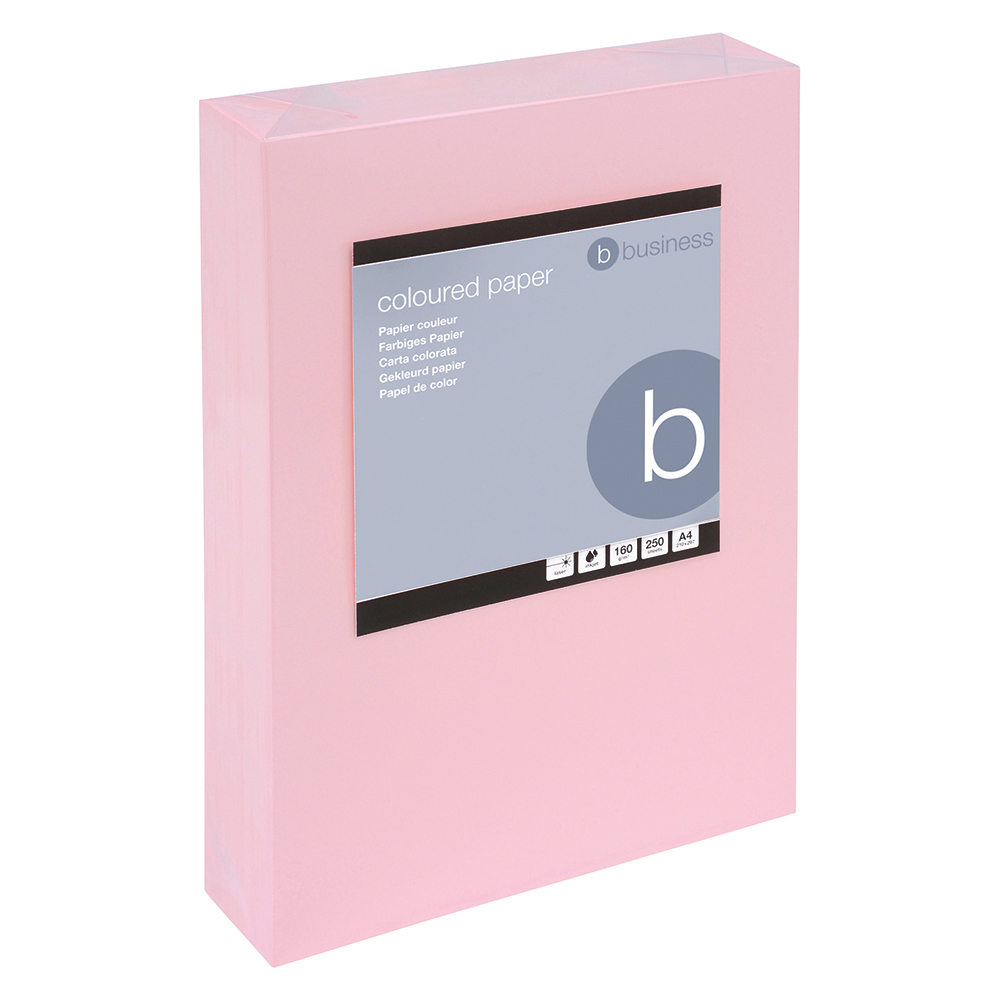 Business Coloured Card 160gsm A4 Light Pink (Ream of 250 Sheets)