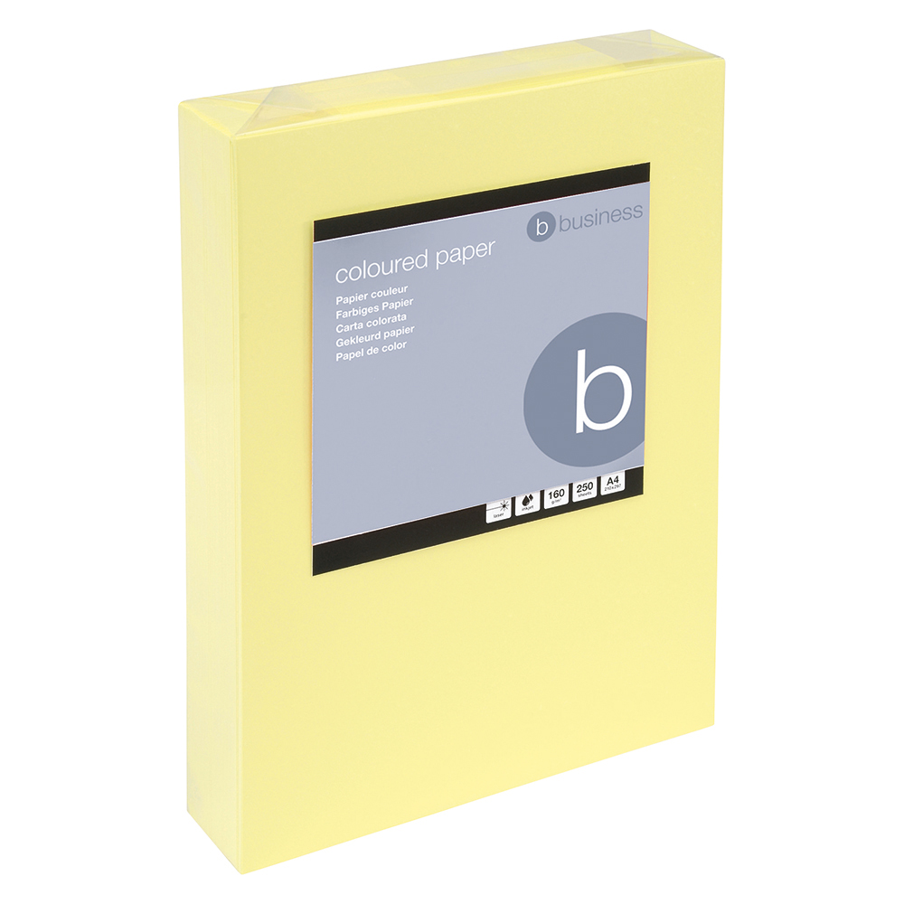 Business Coloured Card 160gsm A4 Light Yellow (Ream of 250 Sheets)