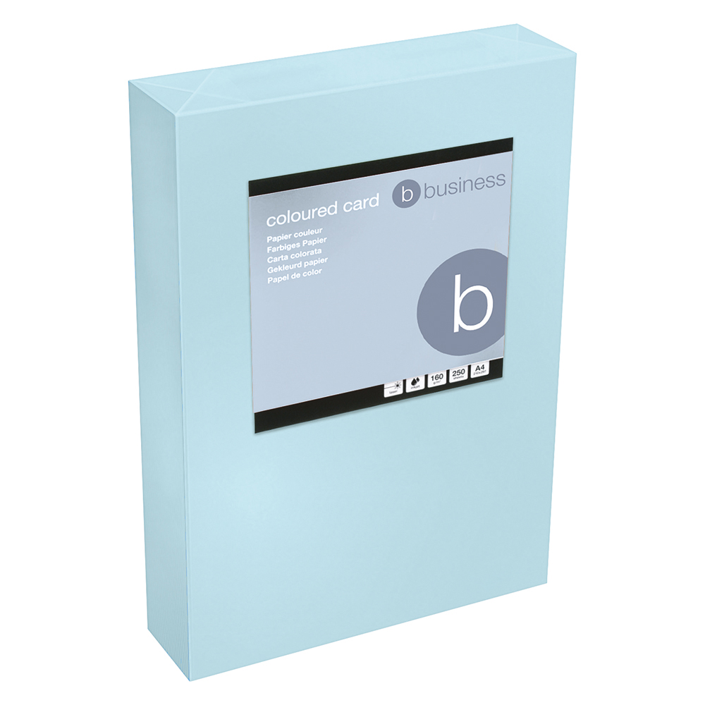Business Office Coloured Card Tinted 160gsm A4 Medium Blue Pack 250