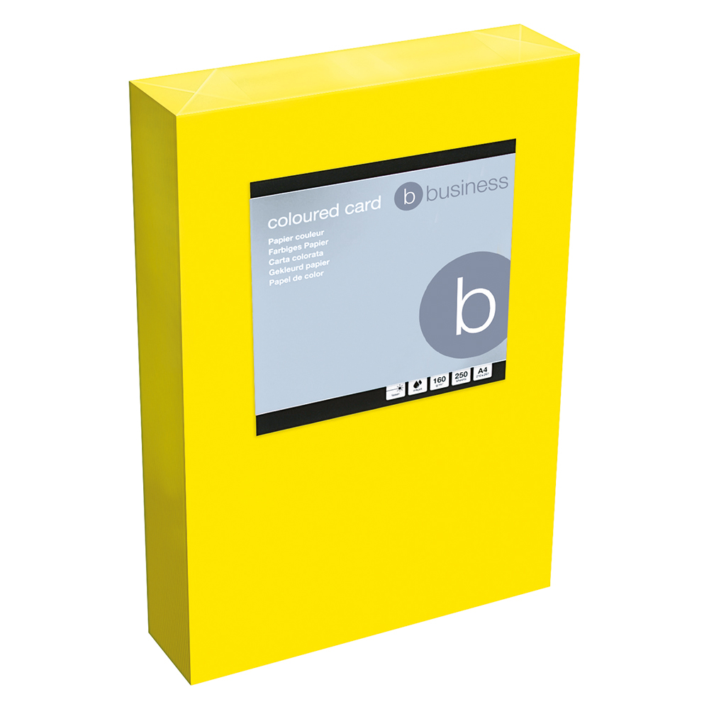 Business Coloured Card 160gsm A4 Deep Yellow (Ream of 250 Sheets)