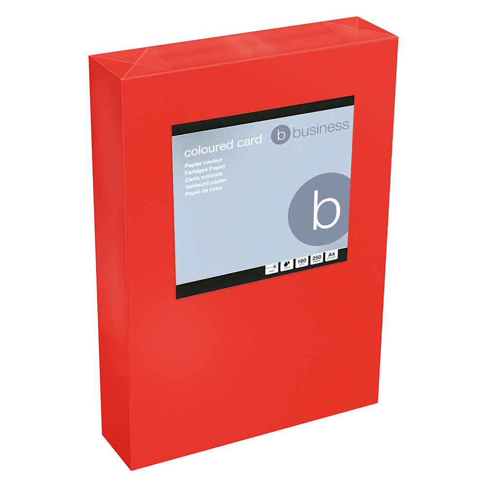 Business Office Coloured Card Tinted 160gsm A4 Deep Red Pack 250