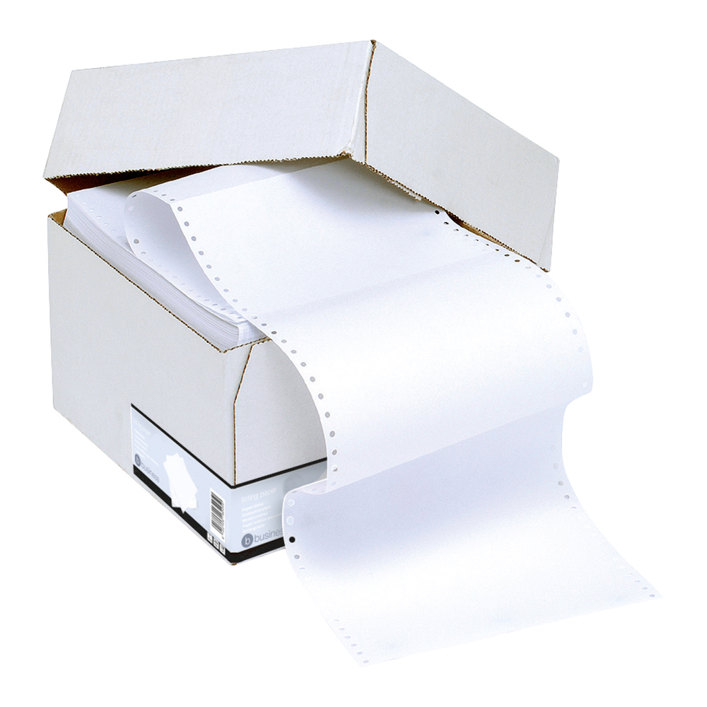 Business Office Listing Paper 1-Part Perforated 60gsm 11inchx241mm Plain 2000 Sheets