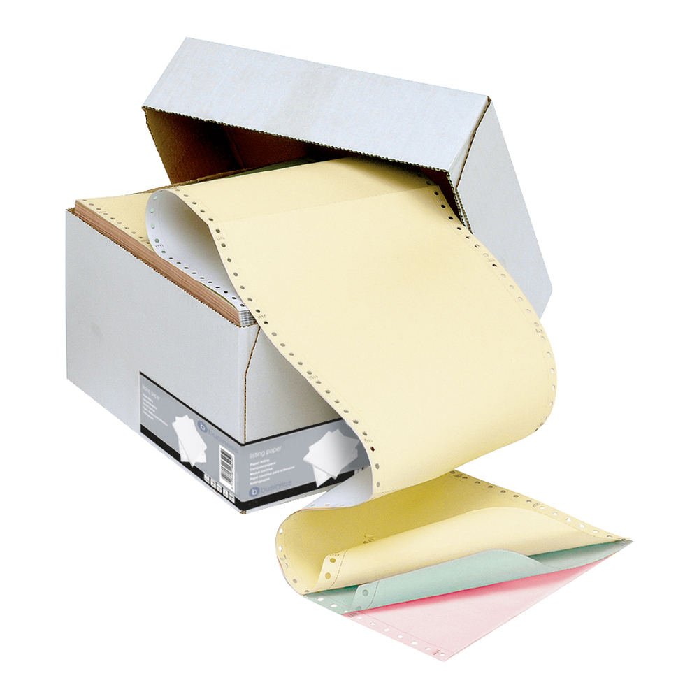 Business Office Listing Paper 4-Part NCR Microperf 80/50/50/55gsm A4 White/Yellow/Pink/Green 500 Sheets