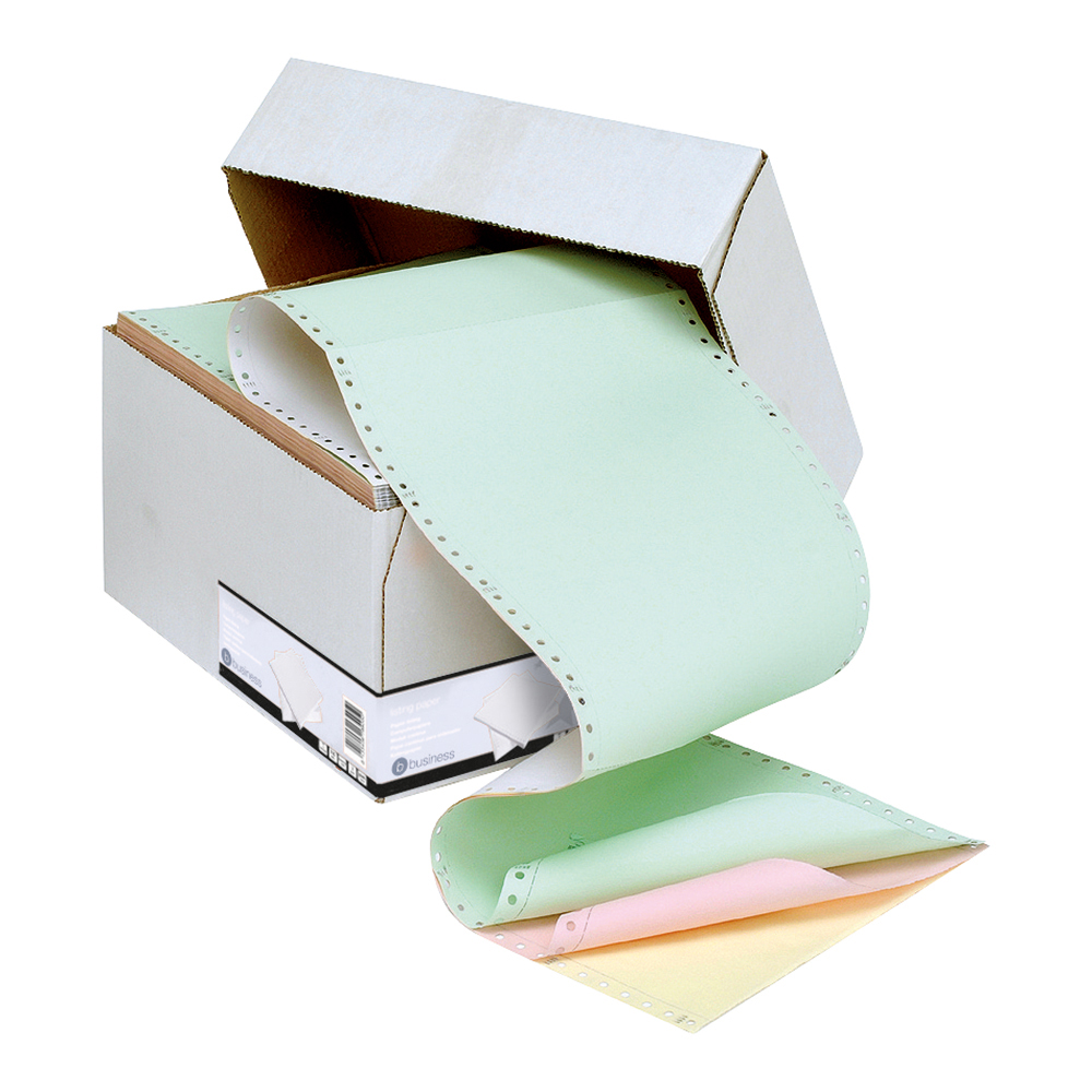 Business Office Listing Paper 4-Part NCR Perf 11inchx241mm Plain White/Yellow/Pink/Green 500 Sheets