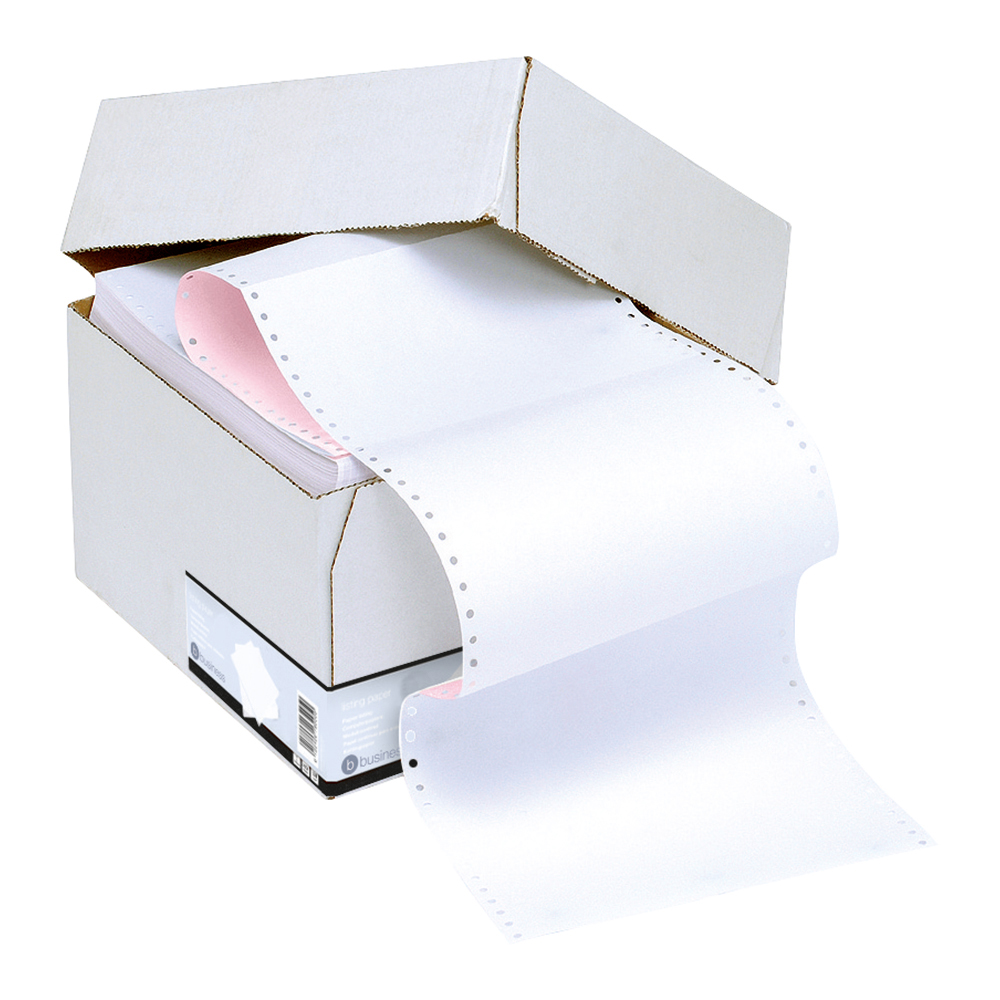 Business Office Listing Paper 2-Part Carbonless Perf 56/57gsm 11inchx241mm Plain White/Pink 1000 Sheets