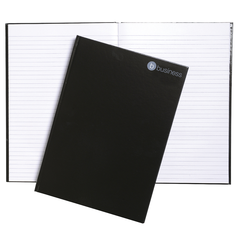 Business Office Notebook Casebound with Hard Cover 160 75gsm Ruled Pages A4 Black (Pack of 5)