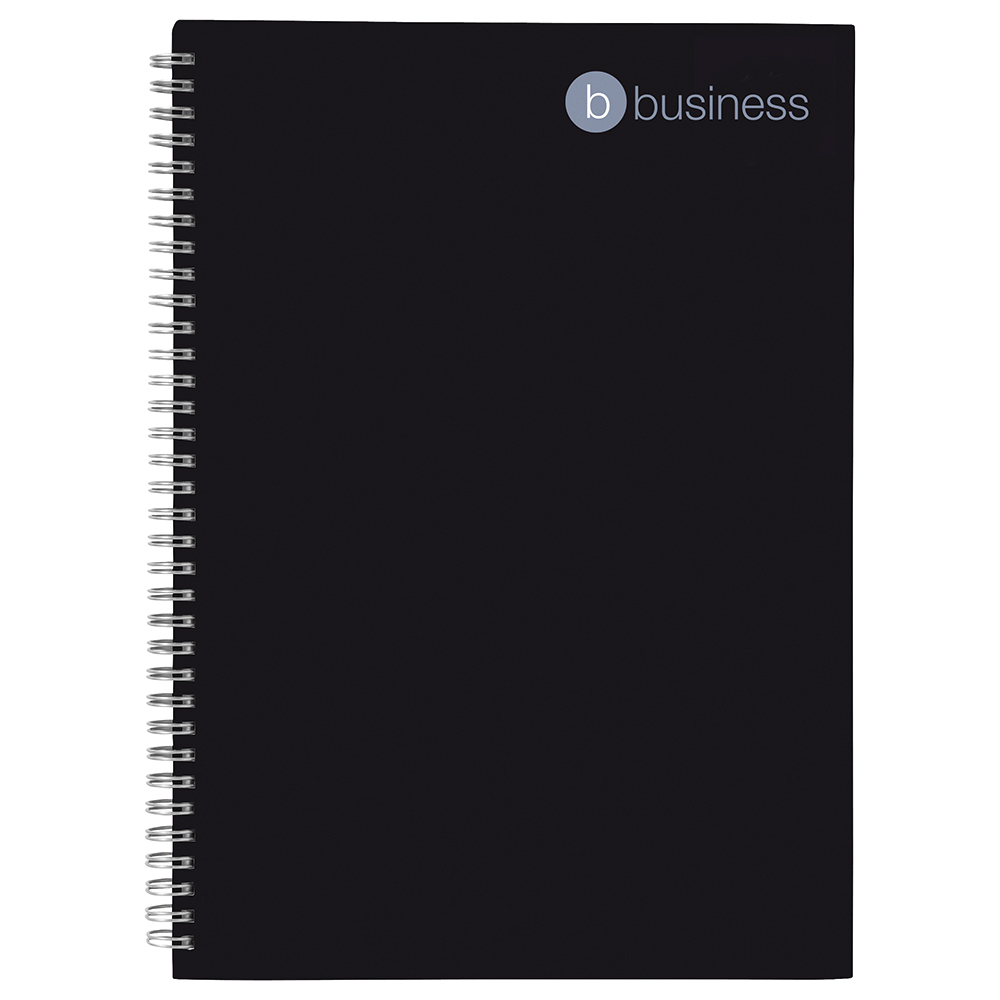 business Office Notebook Wirebound 80gsm Ruled 140pp A4 Black Pack 5