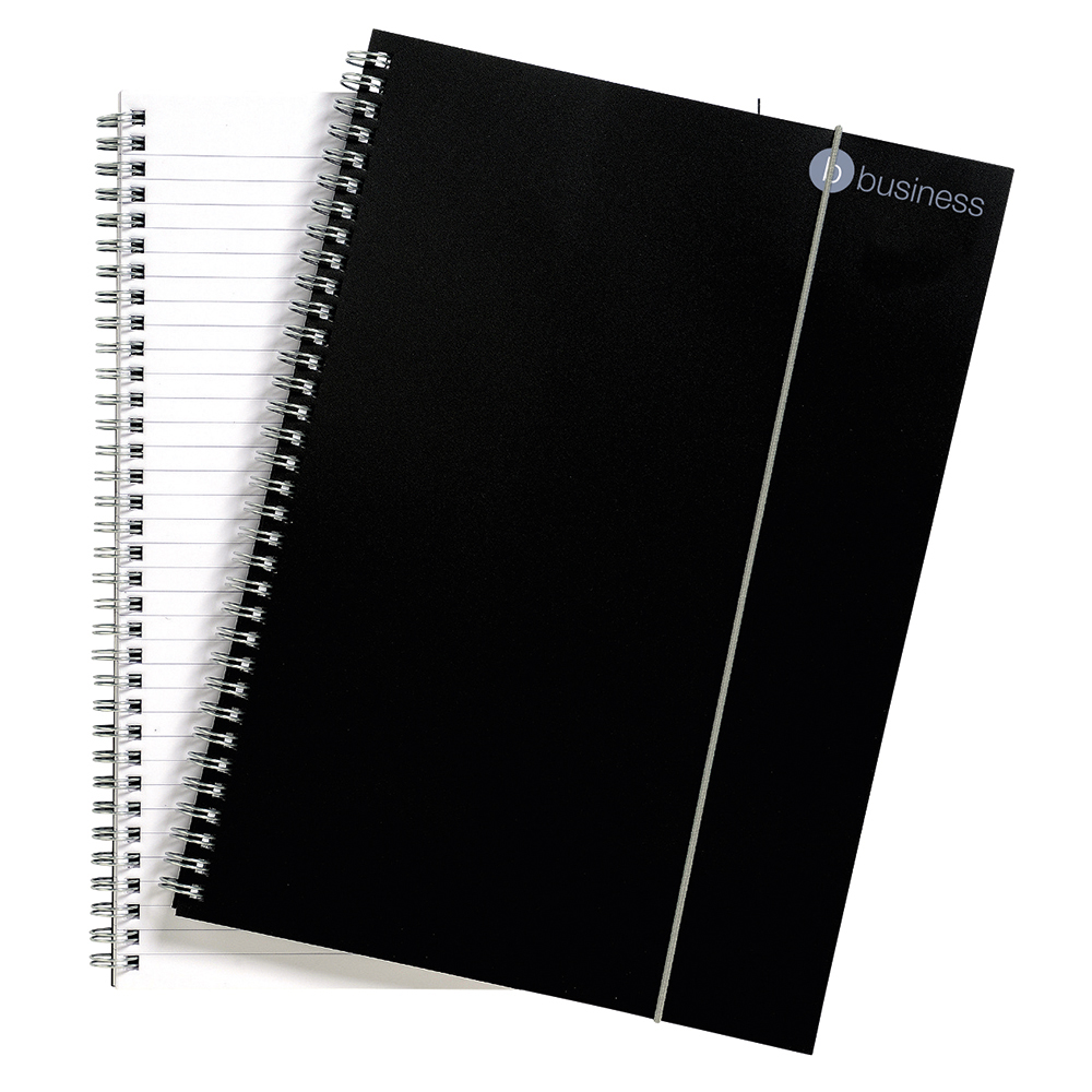 business Office Notebook Wirebound Polypropylene 80gsm Ruled 160pp A4 Black Pack 6