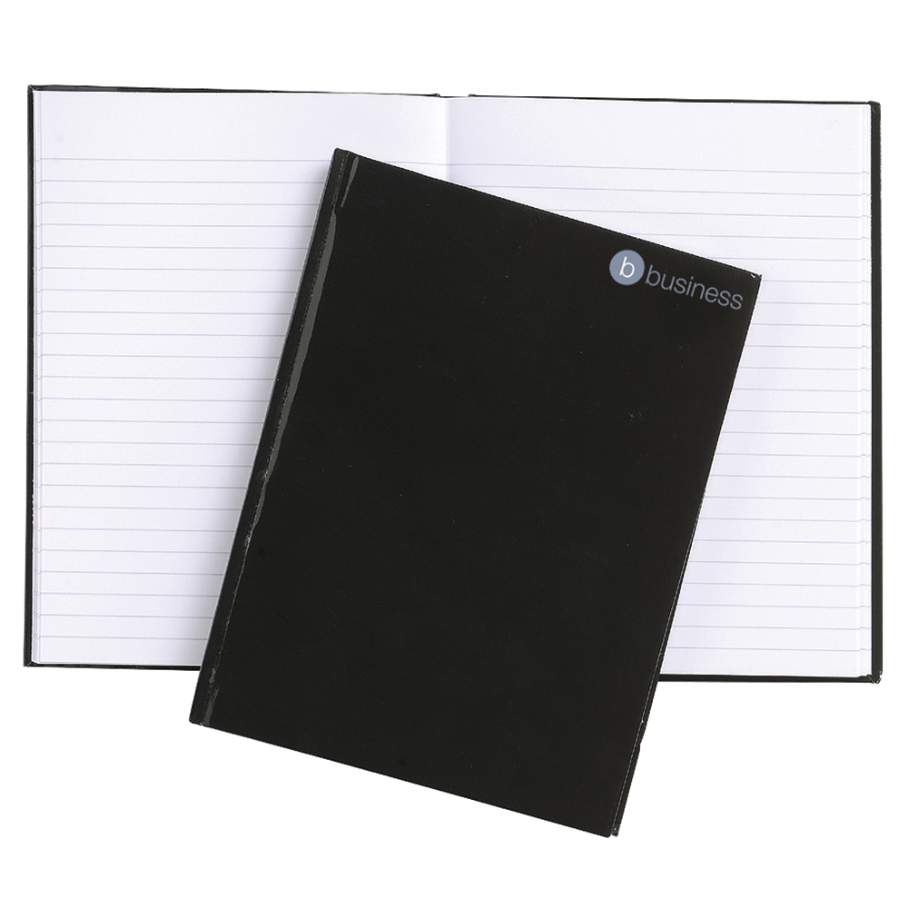 Business Office Notebook Casebound 80gsm Ruled 160pp A5 Black Pack 5