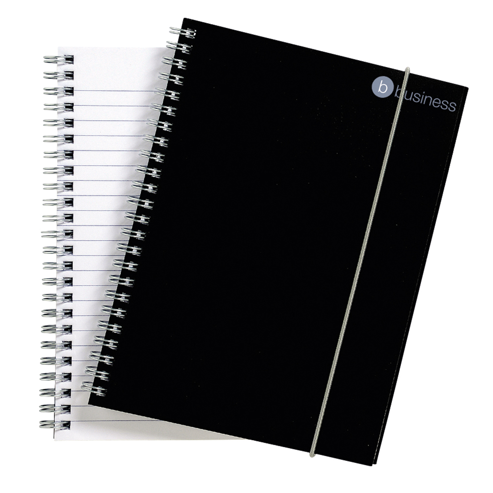 business Office Notebook Wirebound Polypropylene 80gsm Ruled 160pp A5 Black Pack 6