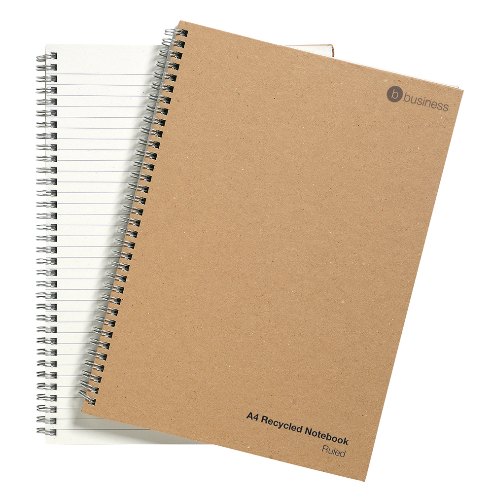 business Eco Notebook Wirebound 80gsm Ruled Recycled 160pp A4 Buff Pack 5
