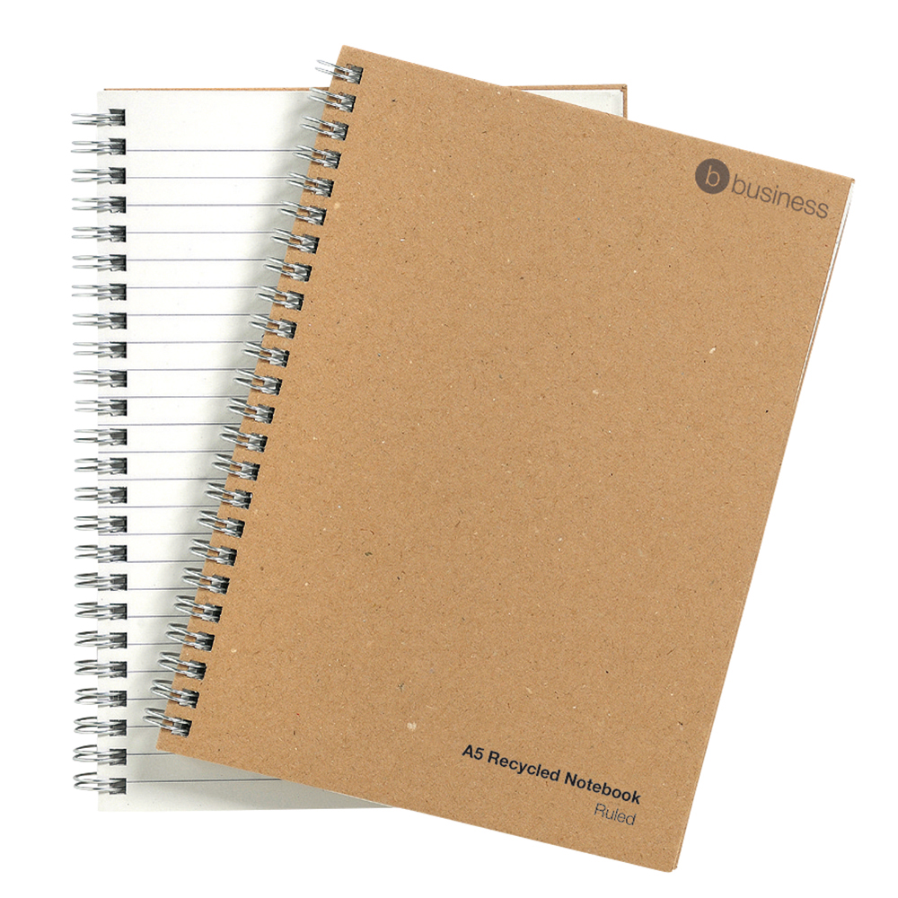 business Eco Notebook Wirebound 80gsm Ruled Recycled 160pp A5 Buff Pack 5