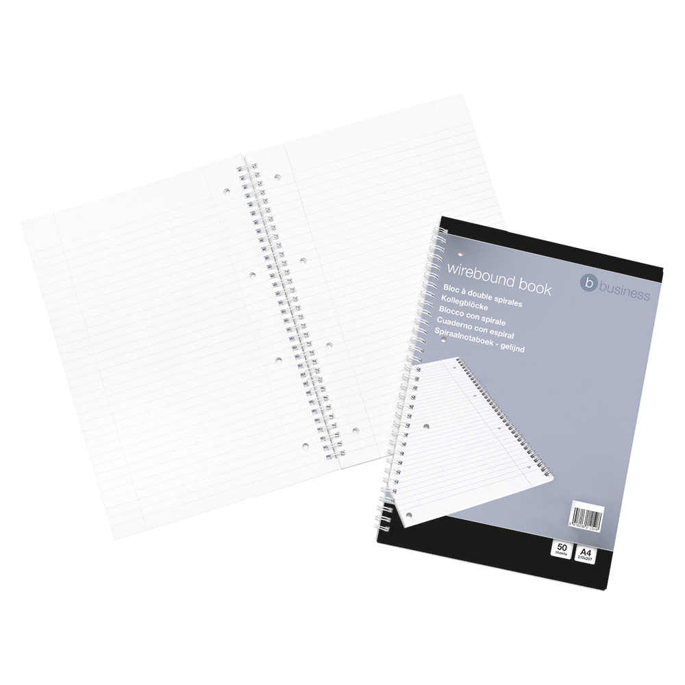 business Office Notebook Wirebound 70gsm Ruled and Margin Perforated Punched 4 Holes 100pp A4 Red Pack 10