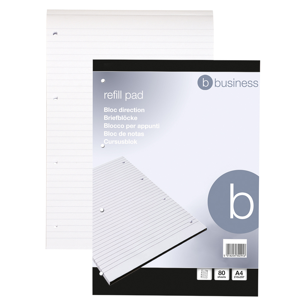 Business Office Refill Pad Headbound 60gsm Ruled Punched 4 Holes 160pp A4 Red Pack 10