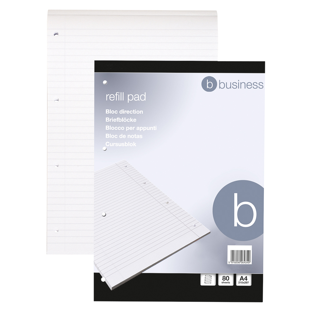 Business Office Refill Pad Headbound 60gsm Ruled Margin Punched 4 Holes 160pp A4 Red Pack 10
