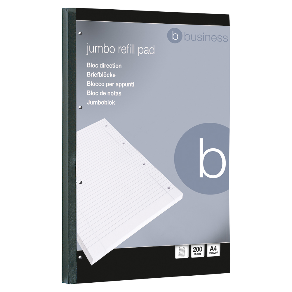 Business Office Jumbo Refill Pad Sidebound 60gsm Ruled Margin Punched 4 Holes 400pp A4 Red Pack 4