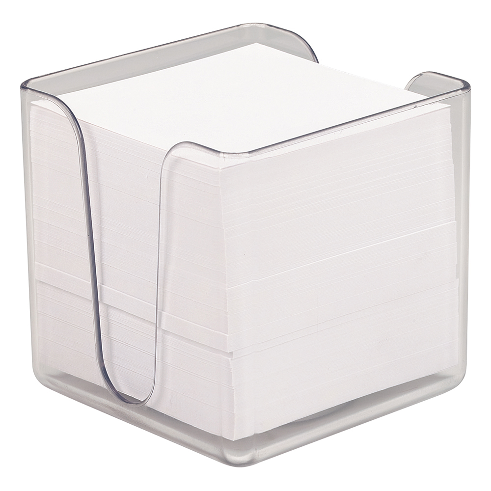 business Office Noteholder Cube Transparent with Approx. 750 Sheets of Plain Paper 90x90mm White