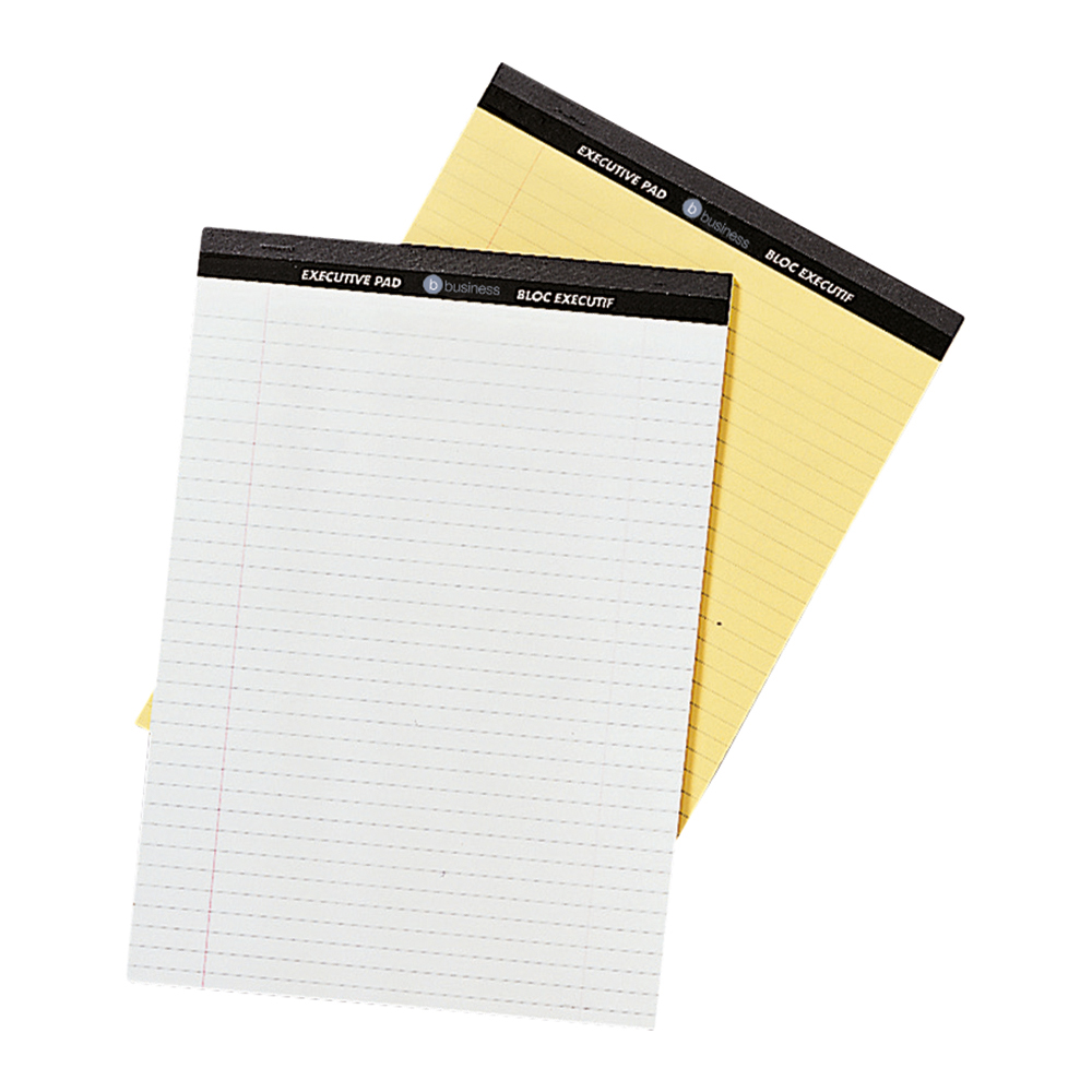 Business Executive Pad 100 Pages Feint Ruled with Margin A4 Yellow (Pack of 10)