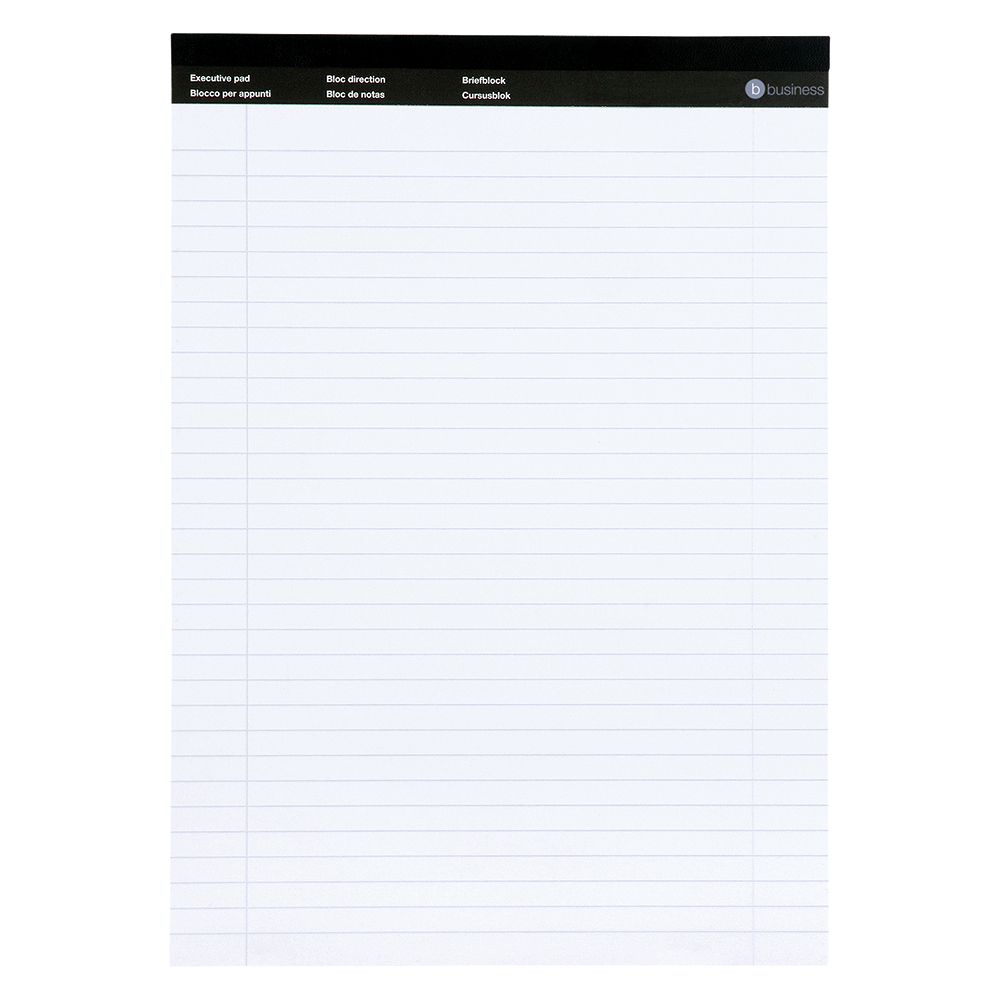 Business Executive Pad 100 Pages Feint Ruled with Margin A4 White (Pack of 10)