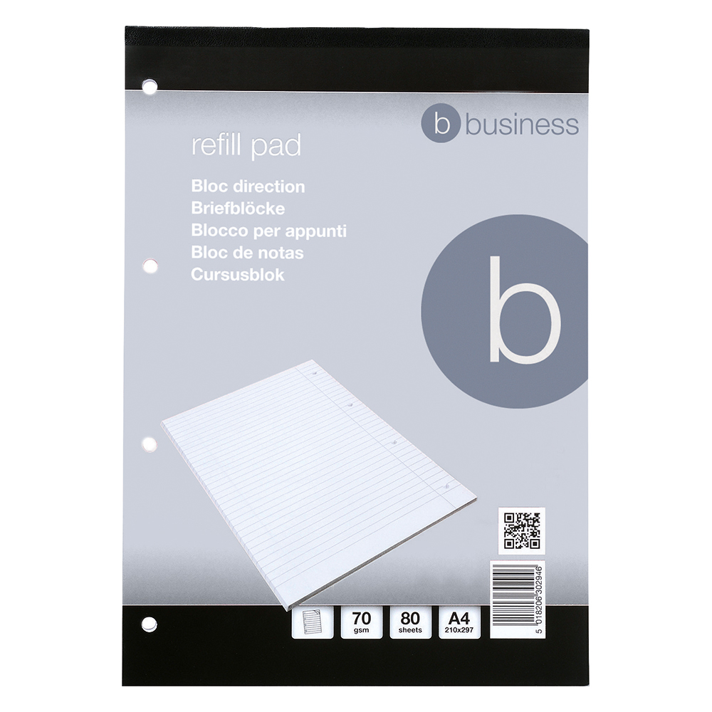 Business Office FSC Refill Pad Headbound 70gsm Ruled Margin Punched 4 Holes 160pp A4 Red Pack 10