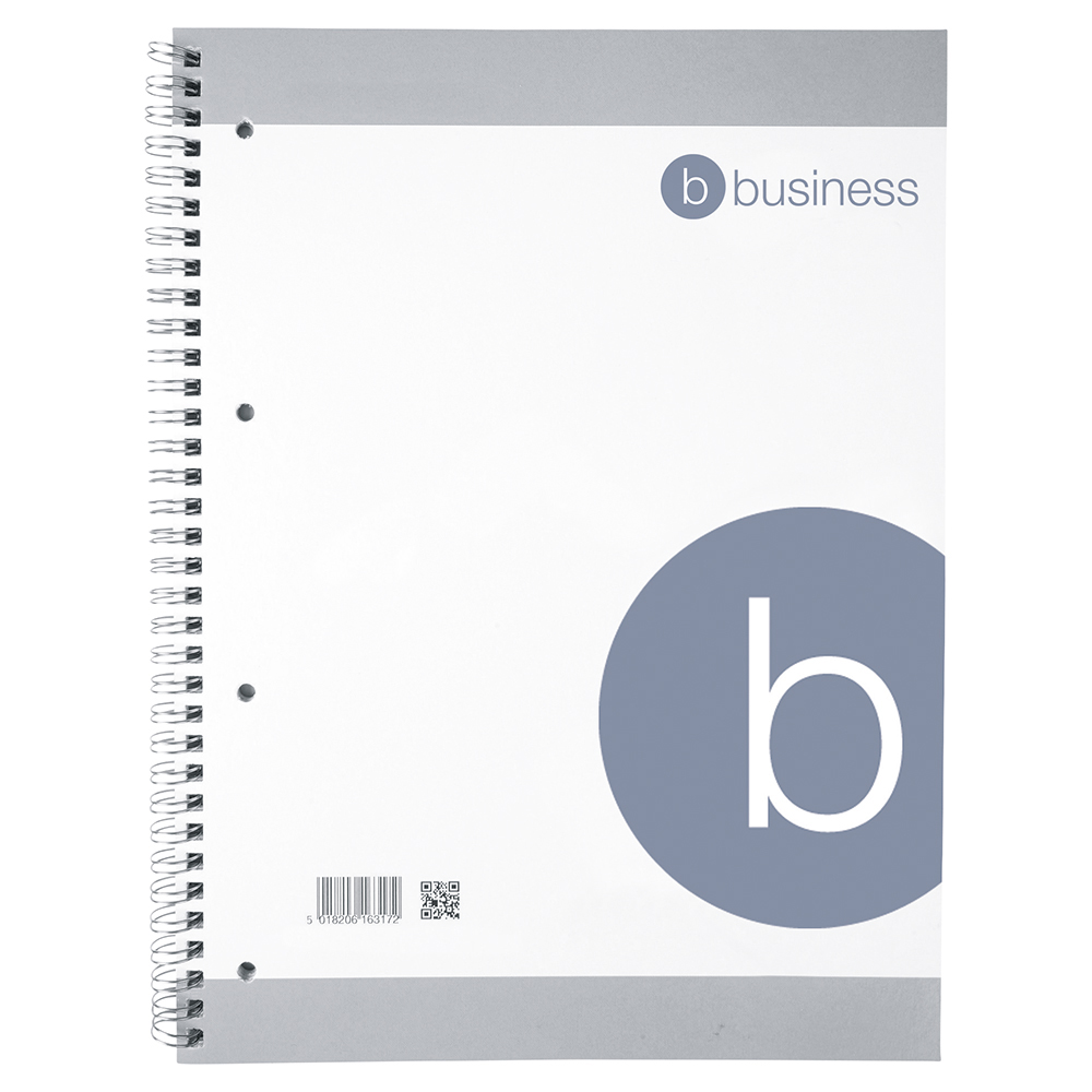 business Eco Spiral Pad 70gsm Ruled Margin Perforated Punched 4 Holes 100pp A4+ Pack 10