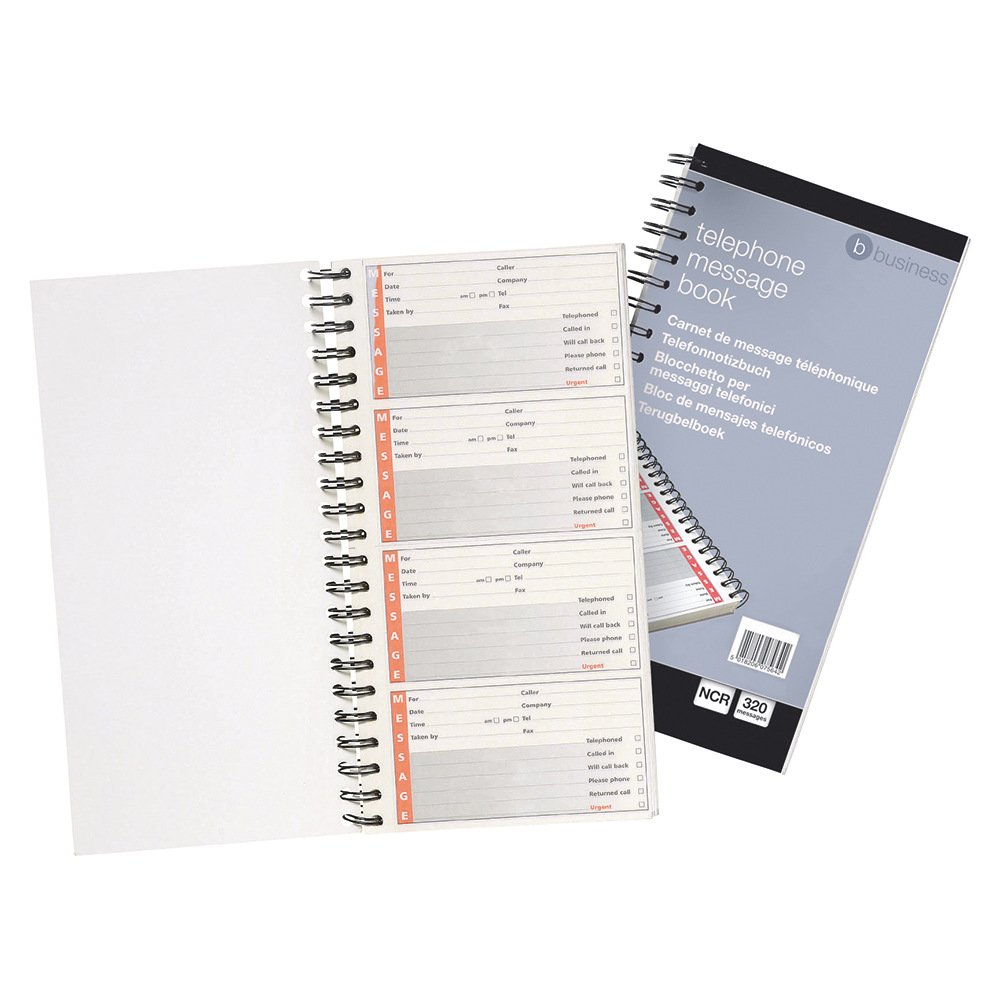 Business Wirebound Telephone Message Book 279 x 152mm NCR 320 Sticky Notes over 80 Pages (Pack of 1)