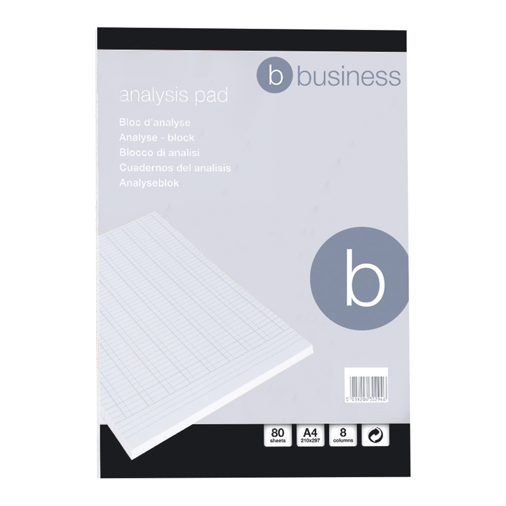 Business Office Analysis Pad 8 Cash Column 80 Sheets A4