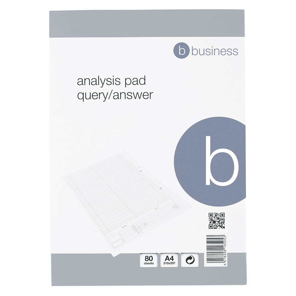 Business Office Analysis Pad Query/Answer 53 Weeks A4 White
