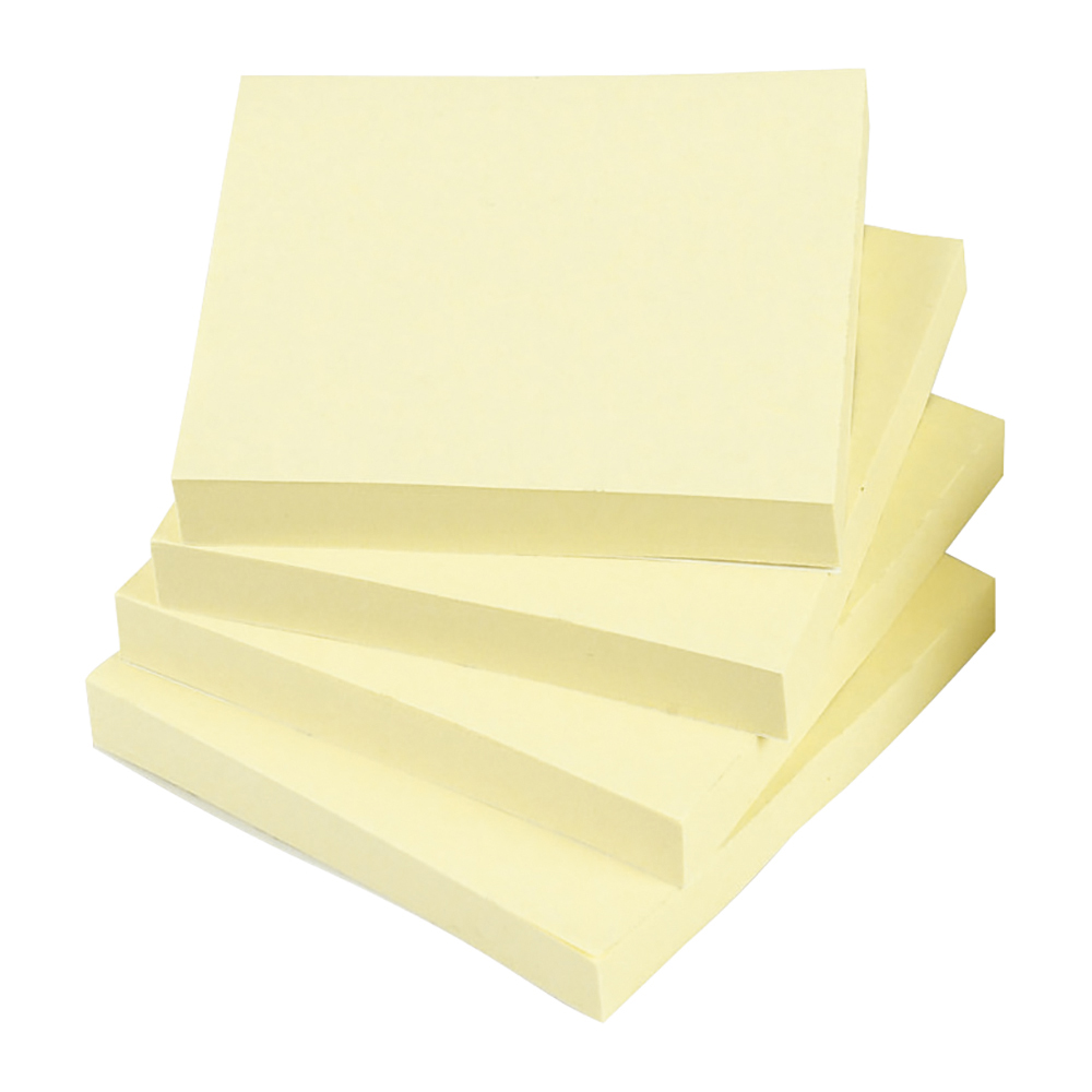 Business Repositional Notes 76 x 76mm Yellow 100 Sheets per Pad (Pack of 12)
