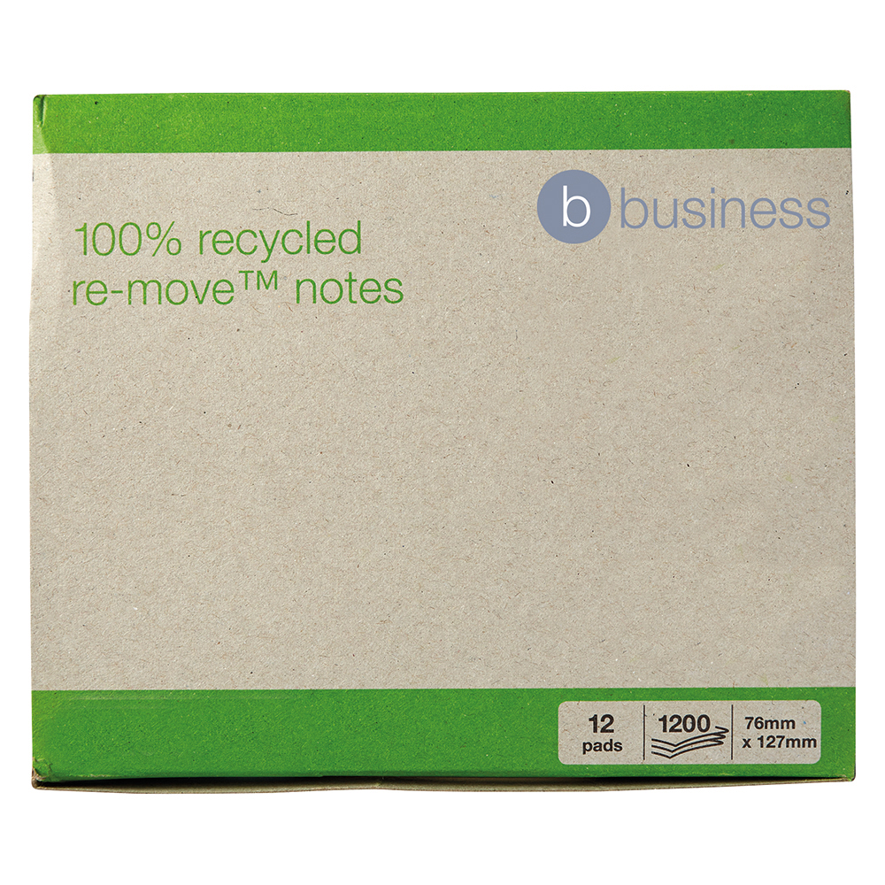 Business Eco Recycled Repositional Notes 76 x 127mm Yellow 100 Sheets per Pad (Pack of 12)