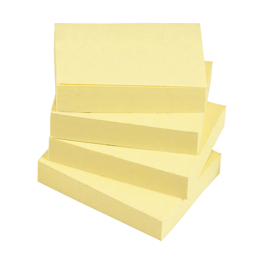 Business Eco Recycled Repositional Notes 38 x 51mm Yellow 100 Sheets per Pad (Pack of 12)