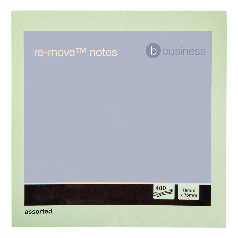 Business Repositional Note Cube 76 x 76mm Pastel Rainbow 400 Sheets per Pad (Pack of 1)