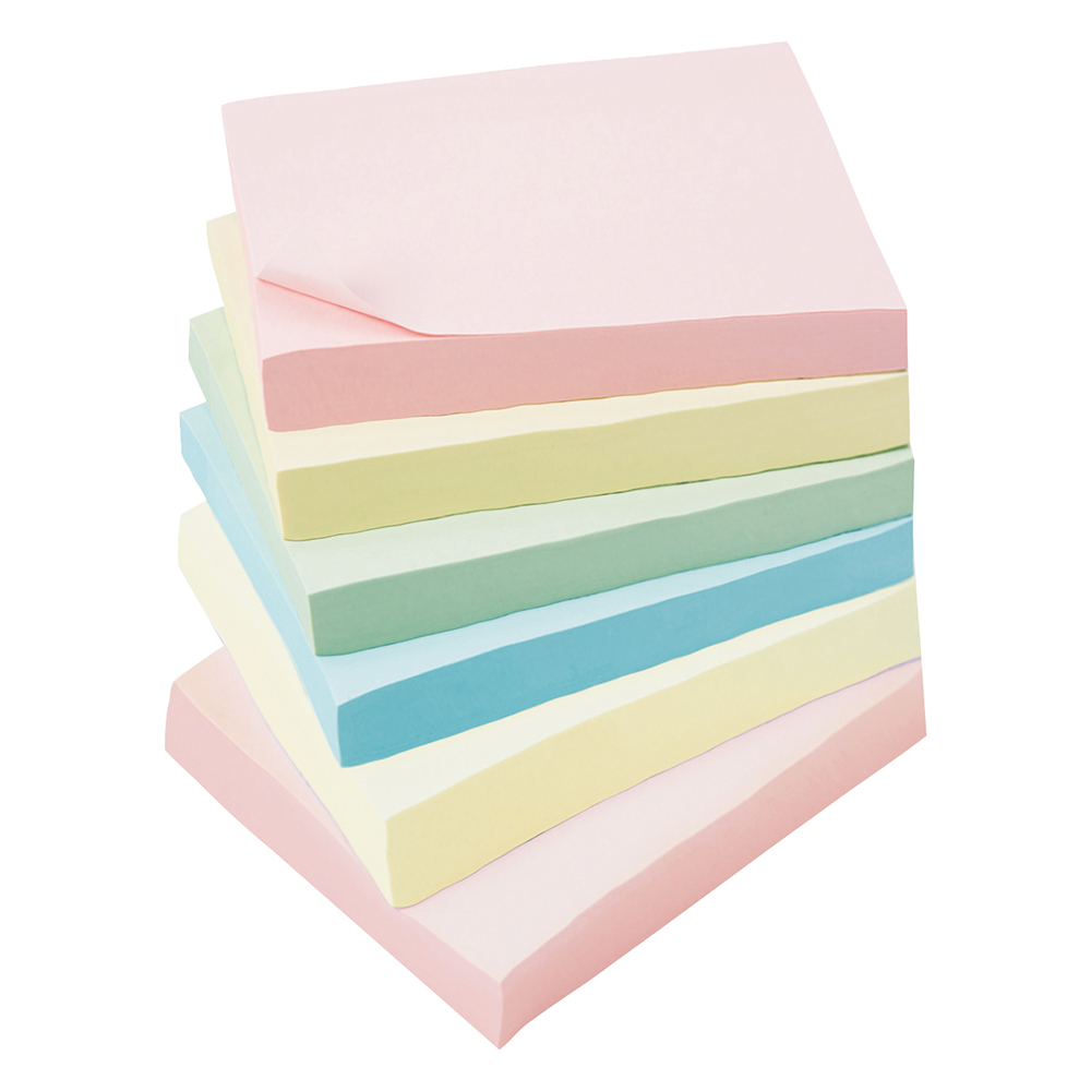 Business Extra Sticky Notes 76 x 76mm Pastel 90 Sheets per Pad (Pack of 6)