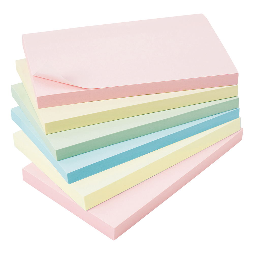 Business Extra Sticky Notes 76 x 127mm Pastel 90 Sheets per Pad (Pack of 6)