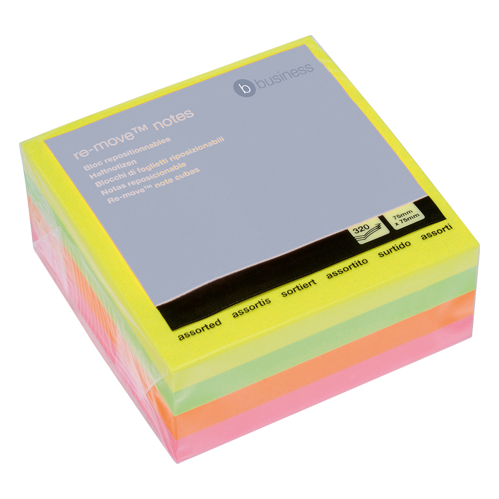 Business Repositional Note Cube 76 x 76mm Neon Rainbow 400 Sheets per Pad (Pack of 1)
