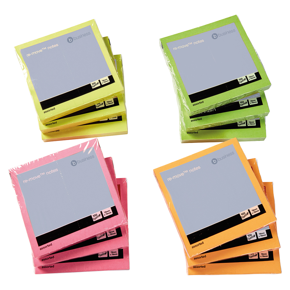 Business Repositional Notes 76 x 76mm Neon 100 Sheets per Pad (Pack of 12)