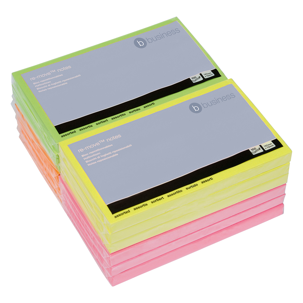 Business Neon 75x127mm Sticky Notes Pack of 12