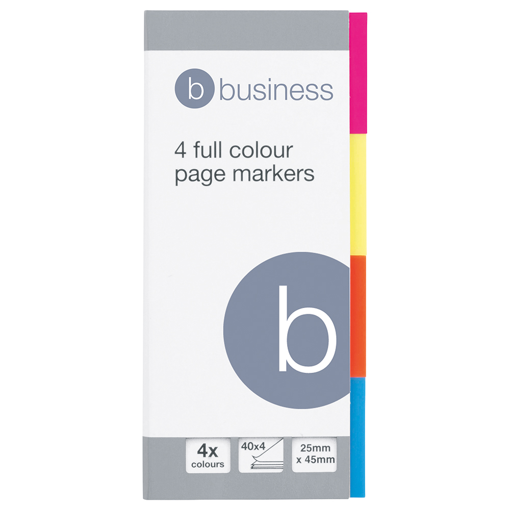 Business Page Markers 25mm 4 Neon Colours 40 Flags per Colour (Pack of 5)