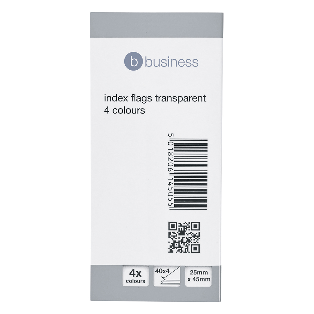 Business Index Flags 25mm Transparent with 4 Coloured Tips 40 Flags per Colour (Pack of 5)